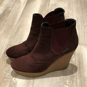 Diesel wedge platform booties burgundy